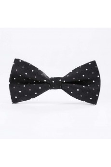 Black Polka Dot Microfiber Butterfly Bow Tie
