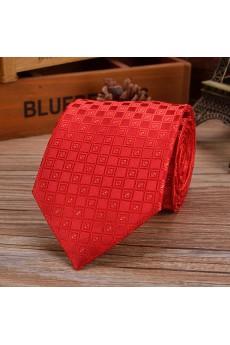 Red Checkered Emulation Silk NeckTie