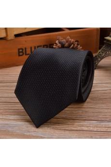 Black Checkered Emulation Silk NeckTie