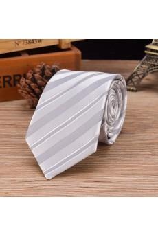 White Striped Emulation Silk NeckTie