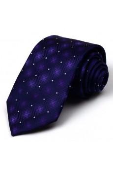 Purple Plaid 100% Silk NeckTie