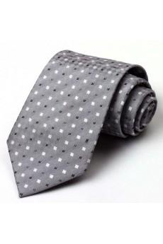 Gray Checkered 100% Silk NeckTie