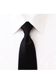 Black Solid Microfiber NeckTie
