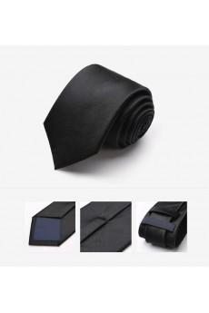 Black Solid 100% Silk NeckTie
