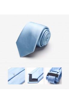 Blue Solid 100% Silk NeckTie