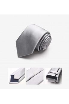 Gray Solid 100% Silk NeckTie