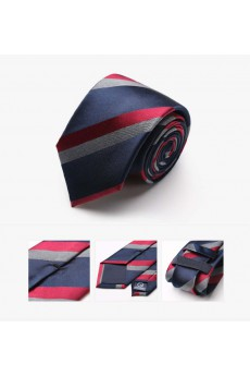 Red Striped 100% Silk NeckTie