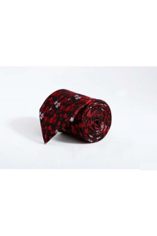 Red Floral Polyester NeckTie