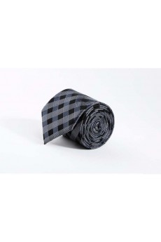 Gray Checkered Polyester NeckTie