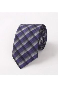Purple Checkered Polyester NeckTie