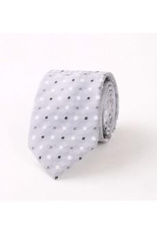 Gray Polka Dot Polyester NeckTie
