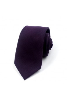 Purple Solid Polyester NeckTie
