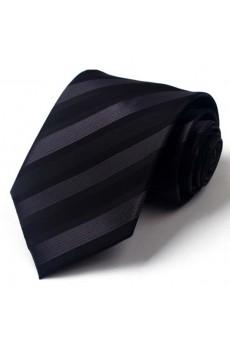Black Striped Polyester NeckTie