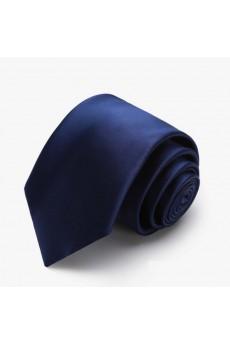 Blue Solid Polyester NeckTie