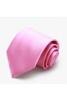 Pink Solid Polyester NeckTie