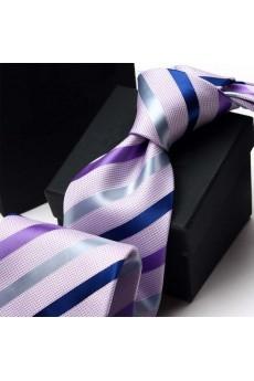 Purple Striped Polyester NeckTie