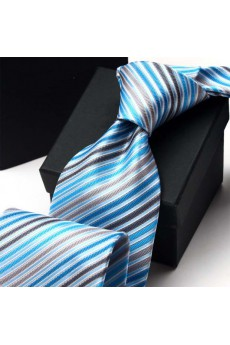 Green Striped Polyester NeckTie