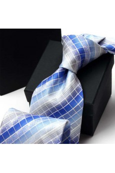 Blue Plaid Polyester NeckTie