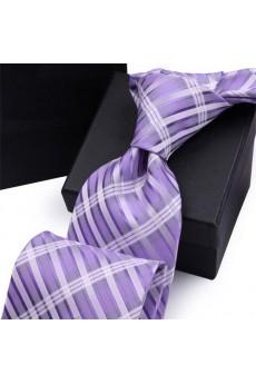 Purple Plaid Polyester NeckTie