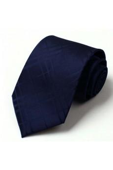 Blue Checkered Polyester NeckTie