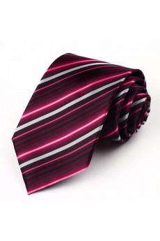 Red Striped Polyester NeckTie