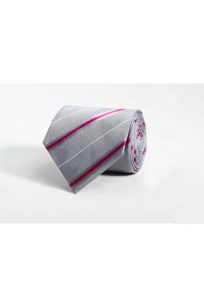 Gray Striped 100% Silk NeckTie