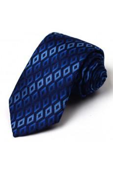 Blue Plaid 100% Silk NeckTie