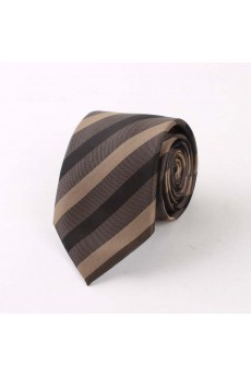 Gray Striped Polyester NeckTie