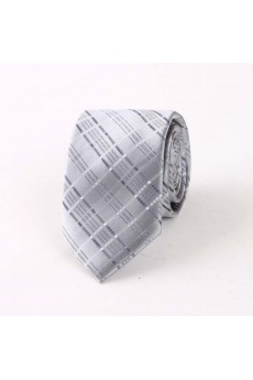 Gray Plaid Polyester NeckTie