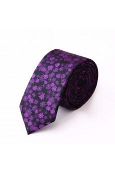 Purple Floral Microfiber NeckTie