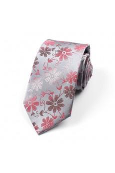 Gray Floral 100% Silk NeckTie