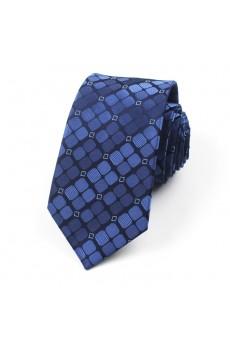 Blue Checkered 100% Silk NeckTie