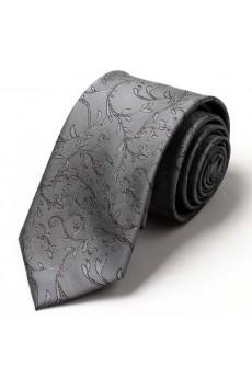 Gray Floral Microfiber NeckTie