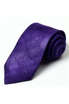 Purple Floral 100% Silk NeckTie