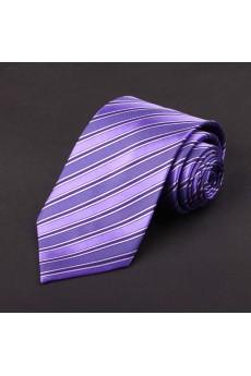 Purple Striped 100% Silk NeckTie