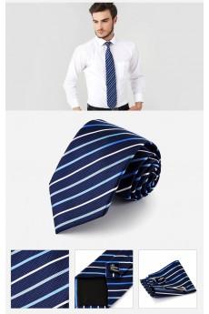 Blue Striped Cotton & Polyester NeckTie