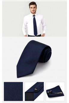 Blue Solid Cotton & Polyester NeckTie