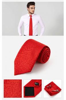 Red Floral Cotton & Polyester NeckTie