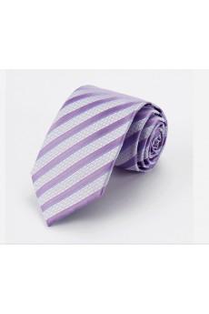 Purple Striped Cotton & Polyester NeckTie