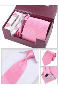 Pink Polka Dot Polyester NeckTie