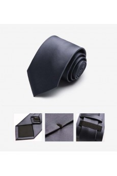 Gray Solid Microfiber Skinny Tie