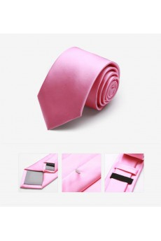 Pink Solid Microfiber Skinny Tie