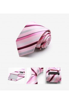 Pink Striped Microfiber Skinny Tie