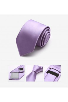 Purple Solid Microfiber Skinny Tie