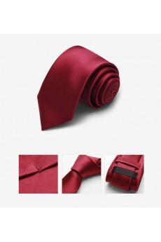 Red Solid Microfiber Skinny Tie