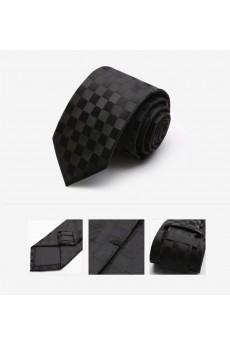 Black Checkered Microfiber Skinny Tie