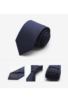 Blue Polka Dot Microfiber Skinny Tie