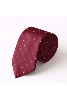 Red Polka Dot Microfiber Skinny Tie