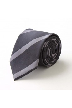 Gray Striped Microfiber Skinny Tie