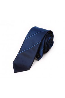 Blue Striped Microfiber Skinny Tie